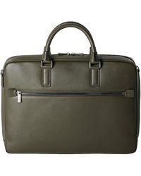 Serapian Moss Green Evoluzione Leather Slim Briefcase