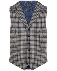New & Lingwood - Brown And Blue Clophill Single-breasted Waistcoat - Lyst