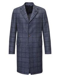 Lardini - Navy Check Single-breasted Wool Overcoat - Lyst