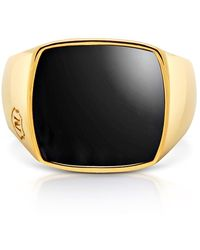 Nialaya Onyx And 18k Gold-finished Stainless Steel Cocktail Ring - Metallic
