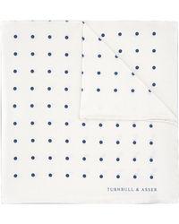 Turnbull & Asser White And Blue Spot Silk Pocket Square