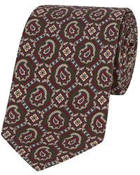 Calabrese 1924 - Green And Burgundy Silk Paisley And Floret Printed Tie - Lyst
