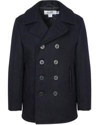 Schott Nyc Navy Melton Wool Pea Coat - Blue