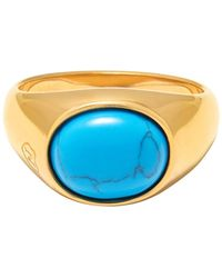 Nialaya Gold Oval Signet Ring With Turquoise - Metallic