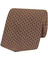 Fumagalli 1891 Brown, Beige And Gray Oval Patterned Silk Tie