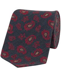 Fumagalli 1891 Charcoal And Red Paisley Wool-silk Tie - Gray