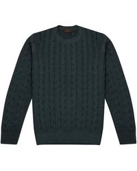 Altea Forest Green Wool Cable-knit Jumper