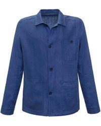 Anderson & Sheppard - Blue Hopsack Linen Work Jacket - Lyst