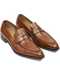 George Cleverley - Tan Burnished Leather George Penny Loafers - Lyst