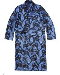 New & Lingwood Black & Blue Peacock Silk Jacquard Dressing Gown