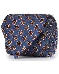 Rubinacci - Dusty Blue And Bordeaux Abstract Flower Silk Tie - Lyst