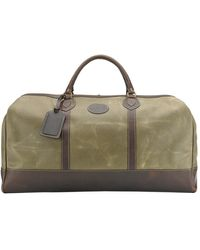 Tusting Lichen Waxed Canvas Leather Small Weekender Holdall - Green