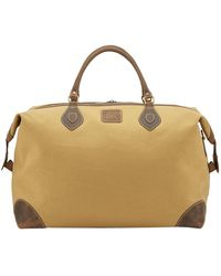 Tusting Safari Tan Canvas And Leather Large Explorer Holdall - Green