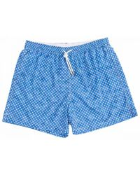 Anderson & Sheppard Blue Miniature Paisley Print Swim Shorts
