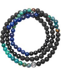 Nialaya Lava Stone, Matte Onyx, Agate And Lapis Bracelet - Blue