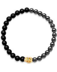 Nialaya - Black Onyx, Hematite And 18k Gold Beaded Bracelet - Lyst