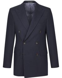 New & Lingwood - Navy Yarmouth Hopsack Wool Double-breasted Jacket - Lyst