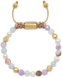 Nialaya Aquamarine, Amethyst Lavender, Cherry Quartz, Pearls And Botswana Agate Capri Collection Beaded Bracelet - Metallic