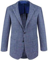 Ring Jacket - Light Blue Check Balloon Wool Jacket - Lyst