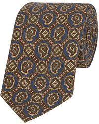 Calabrese 1924 - Avion Brown Silk Paisley And Floret Printed Tie - Lyst