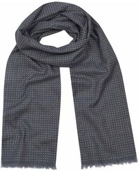 Anderson & Sheppard - Grey And White Tubular Cotton Spotted Scarf - Lyst