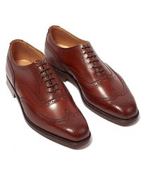 Tricker's Piccadilly Beechhut Burnished Leather Wingtip Brogues - Brown