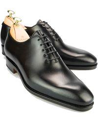 Carmina Black Leather Wholecut Oxfords