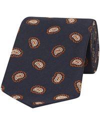 Fumagalli 1891 Navy And Orange Paisley Petals Silk Tie - Blue