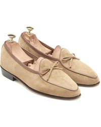 Baudoin & Lange Cream Suede Sagan Original Loafers - Natural