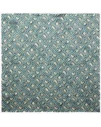 Eton of Sweden Green Silk Block Print Bandana