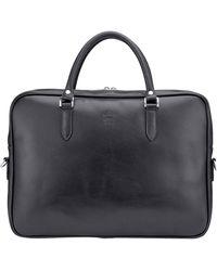 Tusting Black Leather Slim Piccadilly Laptop Briefcase