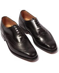 Tricker's Piccadilly Black Calf Leather Wingtip Brogues