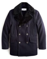 Private White V.c. Navy Shearling Collar Wool Pea Coat - Blue