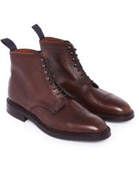 George Cleverley Brown Grain Leather Laced Tarron Boots