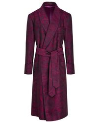 New & Lingwood Magenta Large Paisley Lined Silk Dressing Gown - Purple