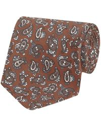 Fumagalli 1891 Brown Paisley Pattern Malibu Silk 5-fold Tie