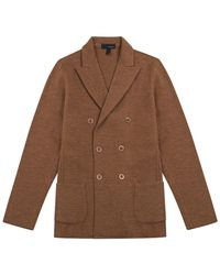 Lardini Terracotta Orange Wool Jacket-cut Double-breasted Cardigan