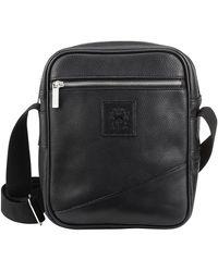 Tusting Black Elba Leather Nimrod Cross Body Messenger Bag