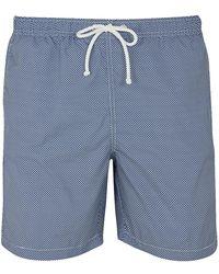 Anderson & Sheppard Dark Blue Mini Chequered Print Swim Shorts