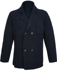Anderson & Sheppard - Navy Double Breasted Merino And Cashmere Jacket - Lyst