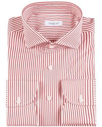 Marol - White And Red Bengal Stripe Cotton Shirt - Lyst