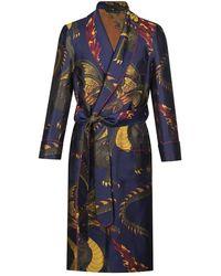New & Lingwood Navy Dragon Pattern Silk Dressing Gown - Blue