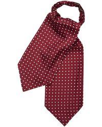 Budd Shirtmakers Burgundy And White Medium Spot Foulard Silk Cravat - Red