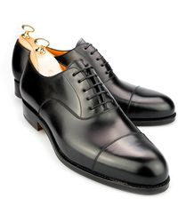 Carmina Black Wholecut Cordovan Leather Oxford Shoes