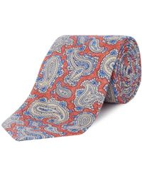 Chester Barrie - Red Paisley Print Silk And Linen Tie - Lyst