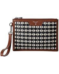 Serapian Black, Cream And Cognac Mosaico Leather Pouch