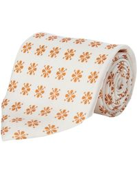 Calabrese 1924 - White And Orange Floral Silk Tie - Lyst