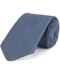 New & Lingwood - Blue Grenadine Weave Silk Tie - Lyst