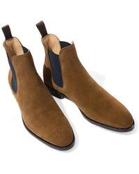 SCAROSSO Tobacco Suede Giancarlo Chelsea Boots - Brown