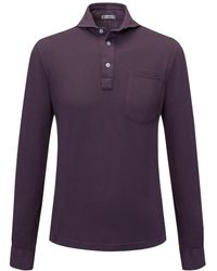 Naked Clothing - Bordeaux Pique Long Sleeve Stretch Cotton Polo Shirt - Lyst